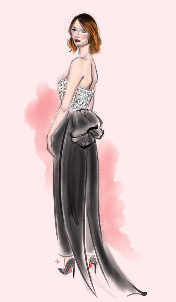Emma Stone Golden Globes Lanvin